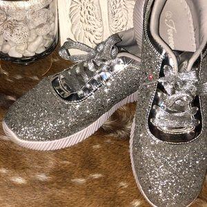 Women's Silver Glitter Sneakers